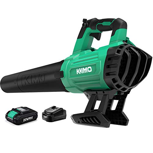 Cordless Leaf Blower - KIMO 400CFM & 150MPH Battery-Powered Blower with Battery and Charger,20V Electric Leaf Blower for Blowing Wet Leaves, Snow Debris and Dust Garden, Yard, Work Around The House