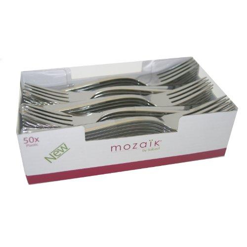 Mozaik da Sabert, 50 x forchette di plastica color argento metallizzato, posate monouso robuste ed eleganti