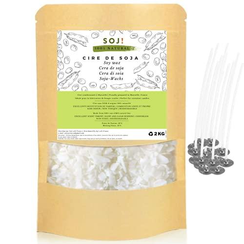 Soj – 25 stoppini in omaggio, 2 kg di cera di soia senza OGM – Confezione in Francia – Cera per candela 100% pura e naturale, speciale candela colata e riempitiva