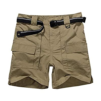 Men's Outdoor Casual Expandable Waist Lightweight Water Resistant Quick Dry Cargo Fishing Hiking Shorts (6033 Khaki 36)
