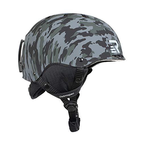 Retrospec Traverse H2 2-in-1 Convertible Ski & Snowboard/Bike & Skate Helmet with 14 Vents; Black Camo, Large/X-Large 56-60cm (3484)