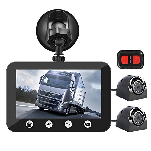 Vsysto Dual Camera Front Recording Dash Cam Rear Backup Rearview reversing Camera with Infrared Night Vision Lens, 4.5