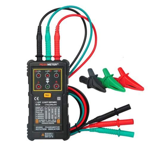 PEAKMETER PM5900 3 Motor Rotation Indicator Meter Sequence Tester Rotary Field Indicator 3 Phase System Motor Testing Multimetro