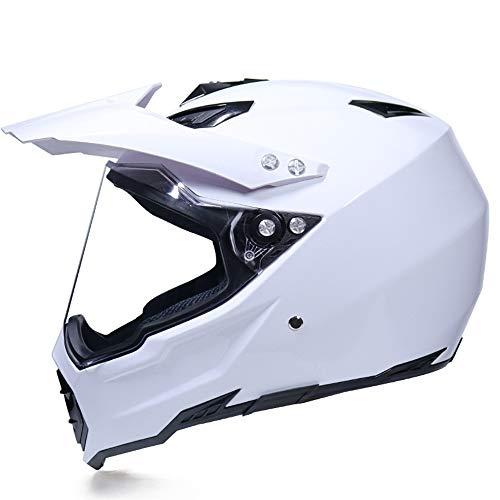 SHOPTOP Motocross Casco Negro, Moto Cross Casco con Visera (Anti-UV), Adulto de...
