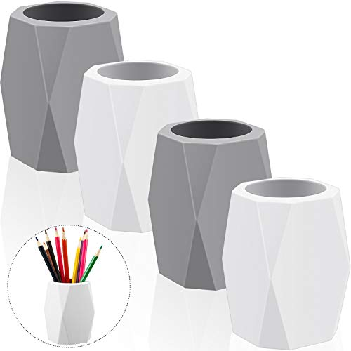 Silicone Pencil Holder Silicone Pen Cups Geometric Pencil Holder Creative Design Silicone Pencil Holder for Office White and Grey (4 Pieces)