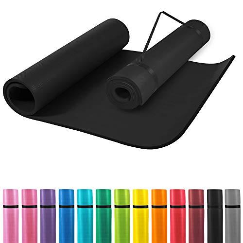 GORILLA SPORTS® Yogamatte mit Tragegurt 190 x 60 x 1,5 cm rutschfest u. phthalatfrei – Gymnastik-Matte für Fitness, Pilates u. Yoga in Schwarz