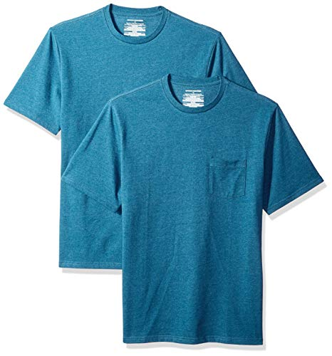 Amazon Essentials - Pack de 2 camisetas de manga corta y corte holgado con cuello redondo y bolsillo para hombre, Azul (Teal Heather Tea), US XS (EU XS)