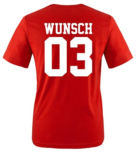 Comedy Shirts - Wunsch - Herren T-Shirt - Rot/Weiss Gr. M