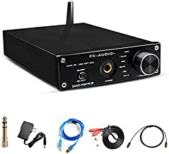 Wireless Bluetooth 5.0 DAC Converter&Headphone Amplifier-192kHz HiFi Stereo Optical/PC-USB/Coaxial/BT to RCA 6.35mm Headphone Digital to Analog Converter for Home Audio with Volume Control(Black)