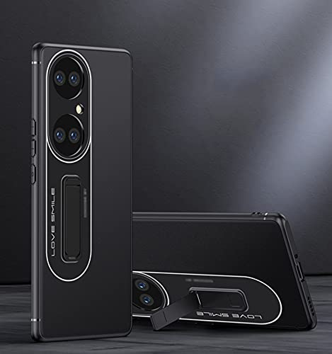 LONGSAND Compatible con Huawei P50 / P50 PR Phel Phel Shell Case PC + TPU Cubierta Protectora para Mujer Hombre Avión a Prueba de Golpes Simple con Soporte,Negro,P50 Pro