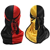 Silky Durag for Men Women Wave Cap Durags Two Tone 360 Waves with Long Tail Wide Straps Doo rags 2 PCS (black , red...