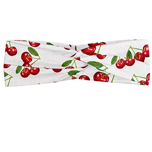 ABAKUHAUS Fruit Bandeau, Cerise Fresh Design Fruit d'été Green Garden Macro Digital Print, Serre-tête Féminin Élastique et Doux pour Sport et pour Usage Quotidien, Blanc Vermilion vert
