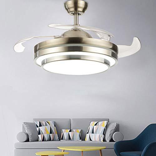 """OUKANING Ventilatore da soffitto con illuminazione a LED da 42"""", velocità del vento regolabile, con telecomando, ali pieghevoli e moderne, per camera da letto"""