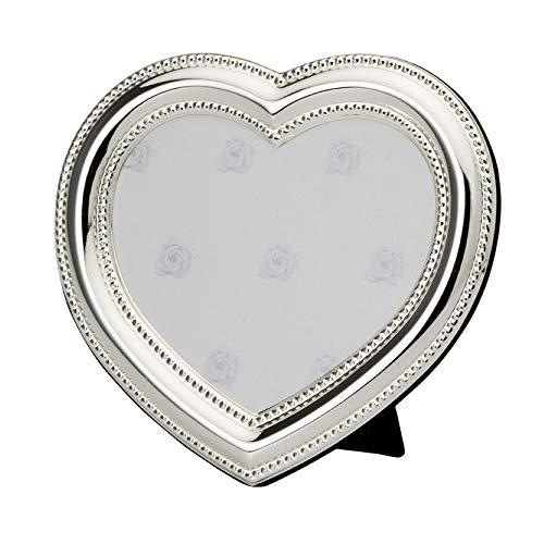 Dekolust Bilderrahmen Herz Silber Metall Groß Silber Bilder-Rahmen Herzförmig Bildhalter