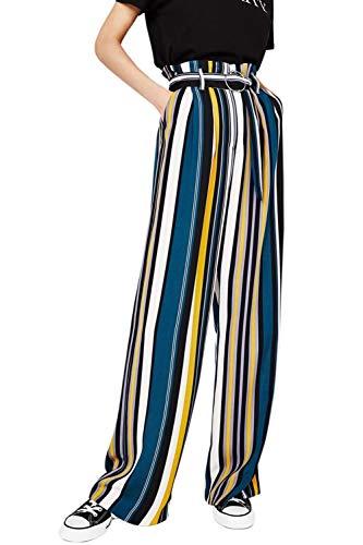 Brede broek, lente, zomer, high modieus, casual, modern, elegante taillebroek, verticale strepen, voorzakken met riem, knoopsluiting, comfortabele locker, lange broek, vrijetijdsbroek, sportbroek, modern
