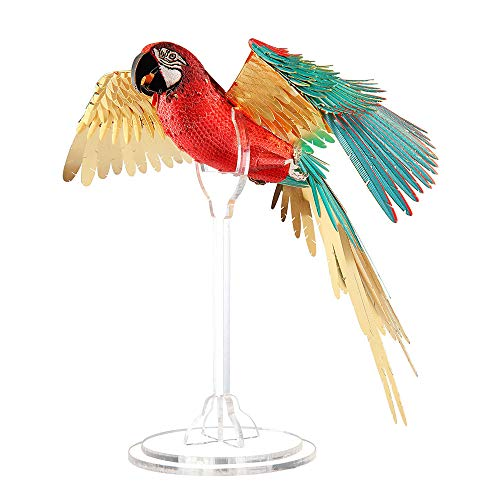 Piececool 3d Metal Model Kit for Adults - Scarlet Macaw DIY 3d Metal Jigsaw Puzzle for Adults