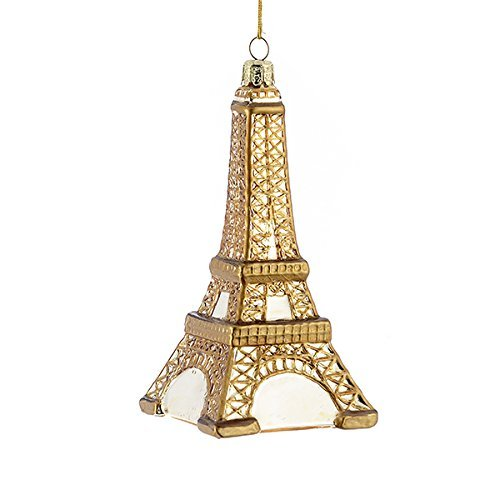 Kurt Adler Noble Gems Gold Glass Eiffel Tower Christmas Ornament