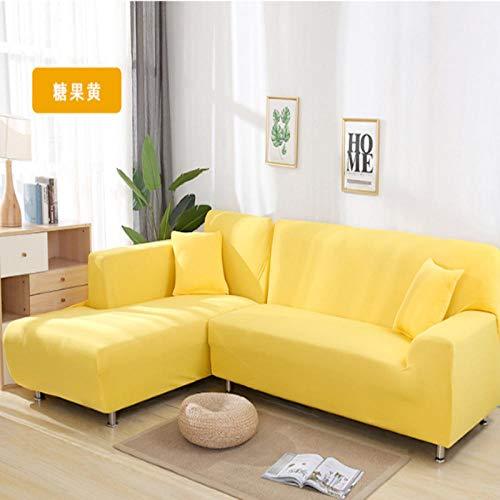 Hoes bankstel Stretch,L-vormige antislip bankhoes, flexibele woonkamer beschermhoes-Candy_yellow_1_seat