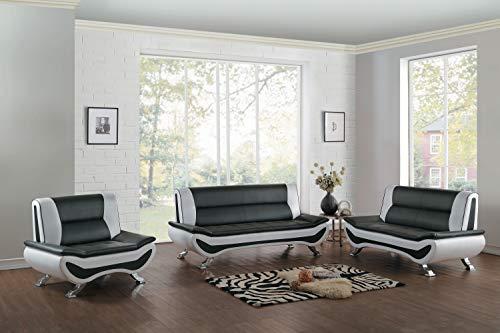 Homelegance 3-Piece Faux Leather Sofa Set, Black