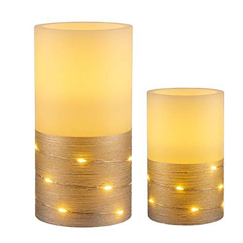 Pauleen 48120 Fairy Lights Candle Wachskerze mit Batterie mit Timerfunktion 6H Timer LED Kerze 2er Set, weiß,silber
