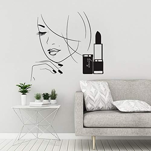 Yaonuli schoonheidssalon vinyl wandsticker mooie vrouw cosmetica lippenstift wandsticker meisjes slaapkamer wandsticker