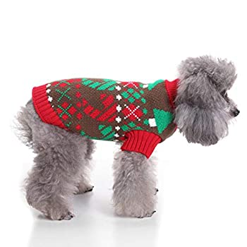 Tineer Pet Xmas Pull-Overs - Pull Chiot Sweater à Capuche Tricots Halloween Cartoon Chaud Manteau vêtements de Noël pour Petits Chiens Moyens Chats Lapins (M, Rouge et Vert)
