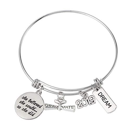 Amosfun Inspirational Armband Graduation Gift Armreif Sie glaubte, sie könnte so Armbanduhr für Graduation Friendship Gifts