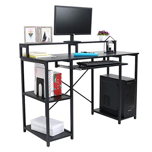 46.5'' Computer Desk with Pull-Out Keyboard Tray & Monitor Stand Riser CPU Stand Storage Shelves Desktop Desk, Workstation with Storage Shelves, Study Writing Table Home Office Desk