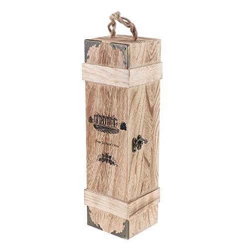 perfk Caja de Vino de Madera de Botella Individual Personalizada con Estuche de Transporte