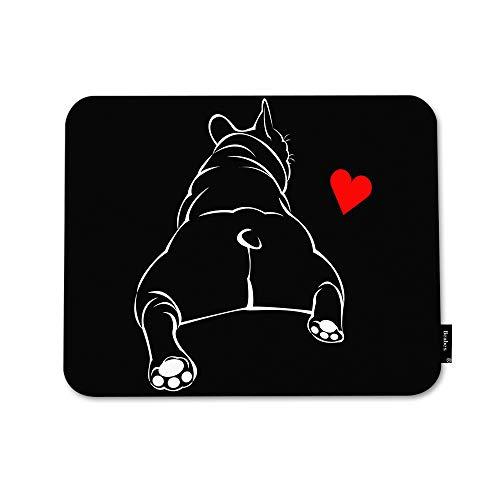Beabes French Dog Mouse Pad Funny Animal Pet Bulldog Butt Love Heart Muscular Black Drawing Durable 7.9x9.5 Inch Rubber Base Thick Mouse Pad for Office Desktops Computer PC
