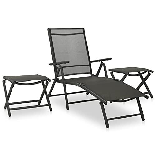 Juego de Muebles de jardín, Juego de sofá de jardín al Aire Libre Juego de conversación en el Patio Juego de salón de jardín de 3 Piezas Textilene y Aluminio Antracita