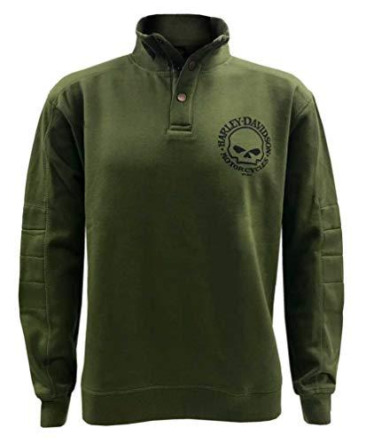 Harley-Davidson Men's Valor Skull Button Pullover Fleece Sweatshirt, Green (XL)