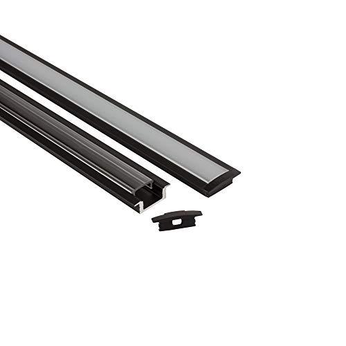 LED Aluprofil A25 schwarz Einbauprofil + Abdeckung Alu Schiene Leiste für LED-Streifen-Strip 2m opal