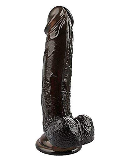 Female 8 Inch Black Ðîldɔ Relax Toys with Strong Suction Cup Hands-Free Bǒdy Relax Stick