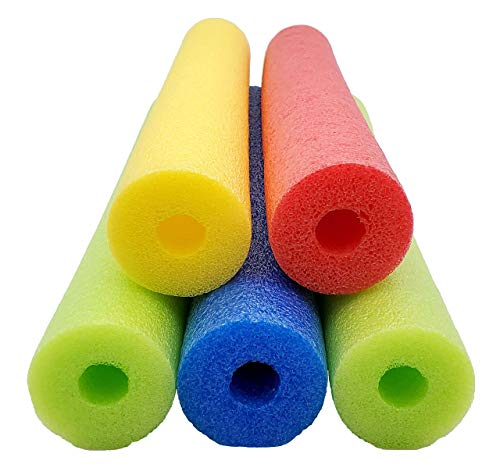 Fix Find - Pool Noodles - 5 Pack of 52 Inch Hollow Foam Pool Swim Noodles | Multi-Colored Foam Noodles