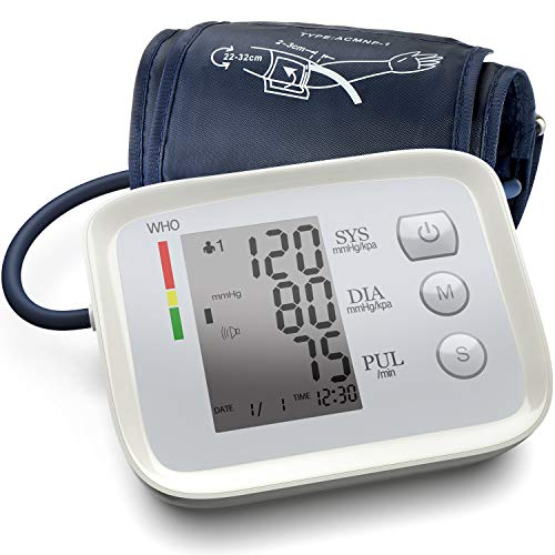 [2020 Latest] Blood Pressure Monitor Upper Arm Accurate Automatic Digital BP Machine Pulse and Heart Rate Voice Broadcast Monitor for Home Daily Use Automatic