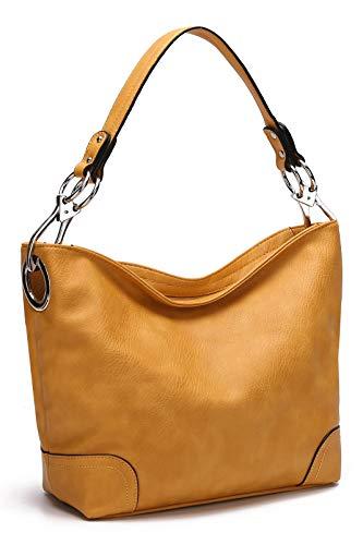 MKF Hobo Purses for Women – Soft PU Leather Handbag Slouchy Womens Hobo Shoulder bag – Fashion Top Handle Pocketbook Mustard
