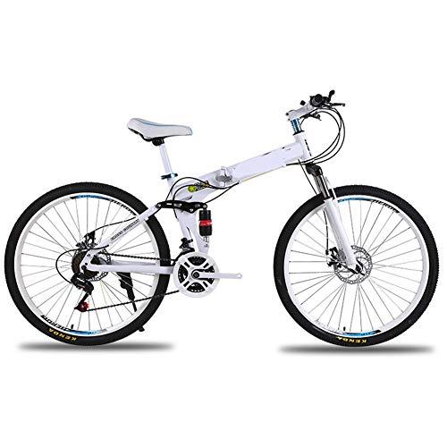 LYzpf Bicicleta de Montaña MTB Plegable 26 Pulgadas 21 Velocidades Aleación Marco Más Fuerte Freno Disco para Hombre Adulto Mujer Estudiante,A,26inch-27S