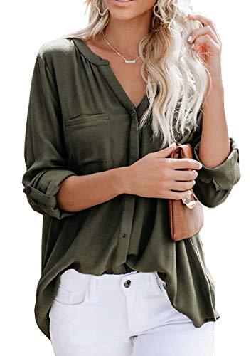Ehpow Damen Bluse Langarm V-Ausschnitt Bluse Einfarbig Casual Button Down Oberteile Blusen Shirts(Medium,Grün)