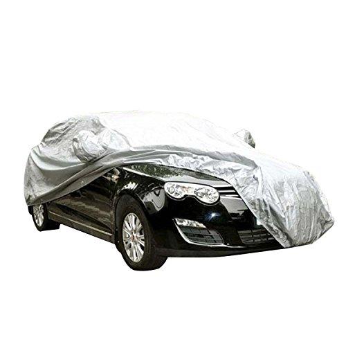 logei® Autogarage Ganzgarage Abdeckung Garage Abdeckplane Autoplane wasserdicht spezielles Cover für Rückspiegel, 470 x 180 x 150cm, Silber