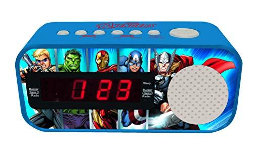 LEXIBOOK Marvel, Vengadores, Avengers-Radio Despertador con Reloj Digital, Pantalla LCD, repetición Alarma, alimentación AC RL145AV, Color Azul (1)