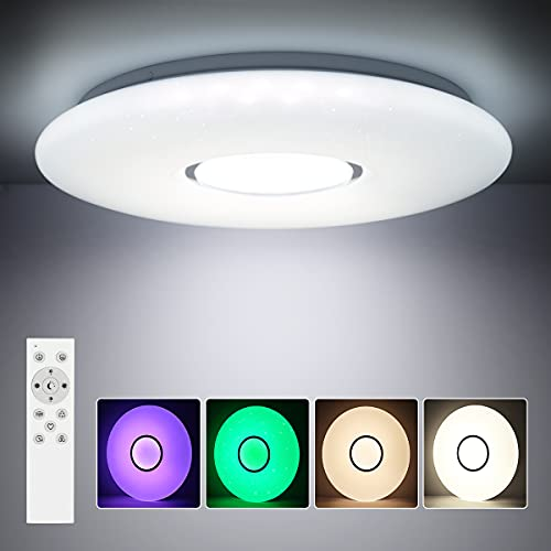 SHILOOK Lámpara LED de techo regulable con mando a distancia, cambio de color RGB, 24W redonda, cielo estrellado, lámpara de techo para dormitorio infantil, 2300 lm, color blanco moderno, 38cm