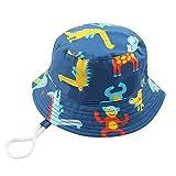 IBLUELOVER - Sombrero de sol para niño, niño, niño, niña, niña, niña, sombrero de cubo con correa antirrayos UV, diseño de animales, gorra de playa, pesca, viaje, mono, 1-2 años