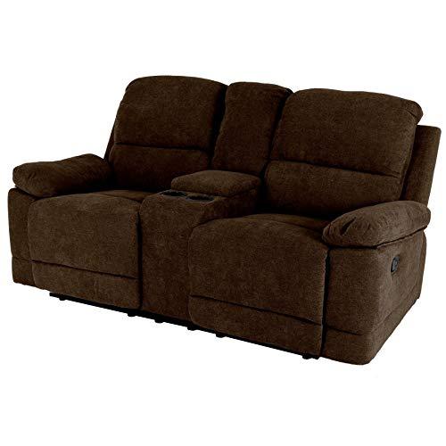 Raburg 2er Kinosessel Flix - Zweisitzer Doppelsitzer Cinema Relaxsessel TV-Sessel mit Getränkehalter Verstellbarer Fernsehsessel mit Liege-/ Relaxfunktion Nougat