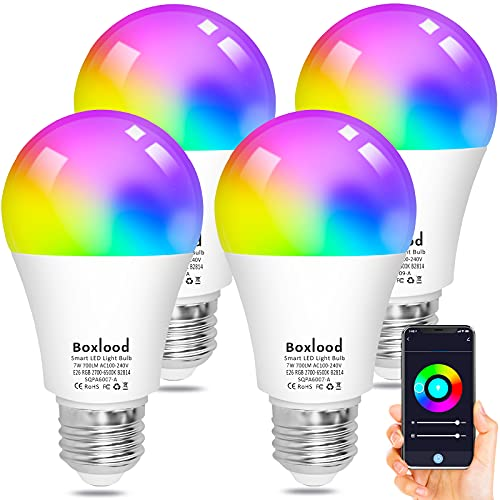 Alexa Smart Light Bulbs, Boxlood WiFi LED Bulb A19 RGB Color Changing Dimmable, Work with Google Assistant Amazon Echo Siri, Warm White to Cool White Adjustable No Hub Required 7W 4 Pack