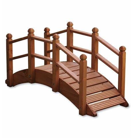 Holzbrücke für Garten, Dekoration, gebeizt, für Teiche, Bachläufe und Abgrenzungen