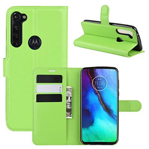 MINGYOUNG Funda de piel de primera calidad con tapa y tarjetero, a prueba de golpes, compatible con Motorola Moto G Stylus (verde)