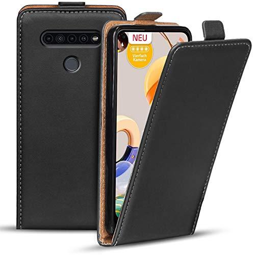 Verco Flip Cover für LG K61 Hülle, Flipstyle Schutzhülle für LG K61 Hülle Kunstleder Tasche vertikal klappbare Handyhülle, Schwarz