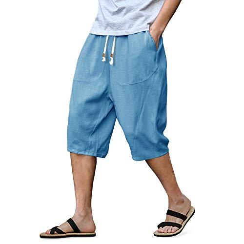 LASIUMIAT Men's Summer Linen Harem Capri Patchwork Shorts Pants, Light Blue, 36