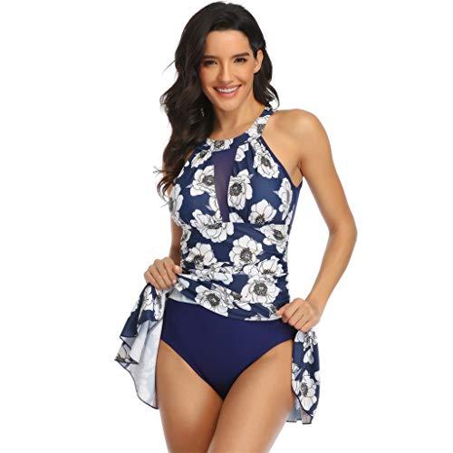 Fenverk Monokini Bikini Retro Badeanzug Einteiler Tankini Bademode Badeanzug One Shoulder Swimwear Swimsuit,Transparent,Tankini Grosse GröSsen,Plus Size Damen(B Weiß,M)